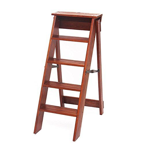 Solid Wood Fold Household Five Steps Ladder Simple Ladders Step Stool Multifunction Indoor Step Ladder Dining Chair Foldi Step Ladders Step Stool Dining Chairs