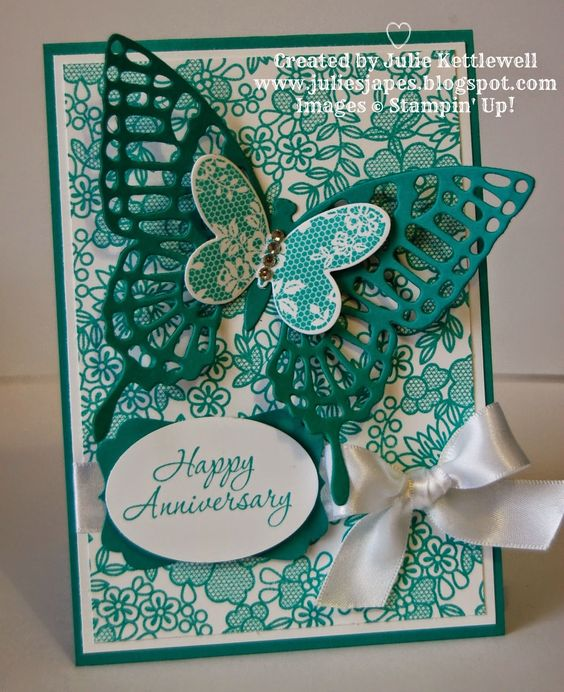 Stampin' Up! UK Independent Demonstrator - Julie Kettlewell: Butterfly Anniversary Card