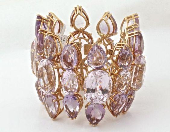 TONY DUQUETTE Kunzite & Amethyst Gold Jewelry Set image 9