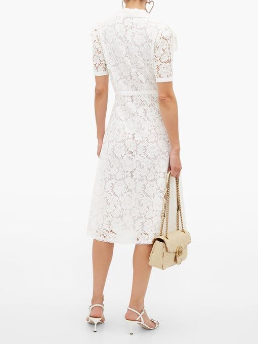 Ruffled cotton blend guipure lace midi dress | Miu Miu