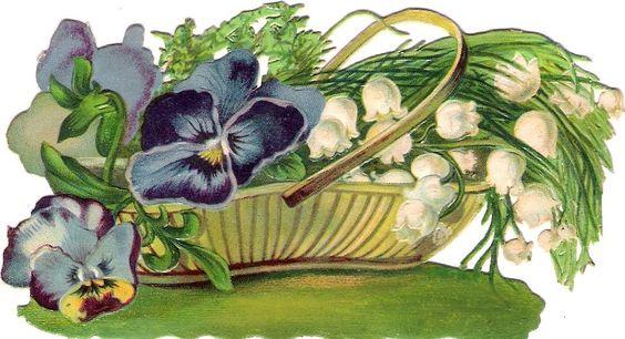 Oblaten Glanzbild scrap die cut chromo Blumen Korb  12,5 basket pansy panier: