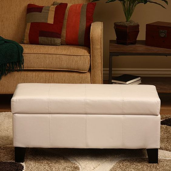 Storage Ottoman,(,100) Home Goods: Free Shipping on orders over $45 - Ariel White Storage Bench By Warehouse Of Tiffany Home, Leather