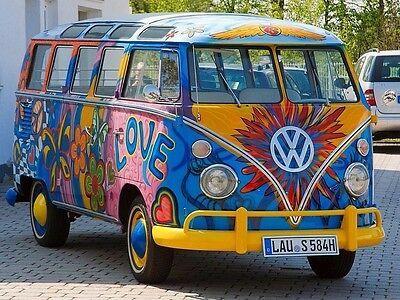 VW 22 windows HIPPIE Samba Bus PEACE VAN Edible Cake Topper Frosting 1/4 Sheet | eBay