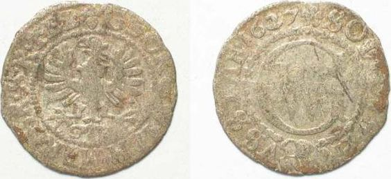 1627 Brandenburg - Preussen BRANDENBURG-PRUSSIA Schilling 1627 GEORG WILHELM silver aVF # 92264 VF-