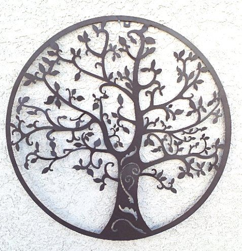 world best rustic tree of life metal wall hanging garden art 24 inches wall. Black Bedroom Furniture Sets. Home Design Ideas