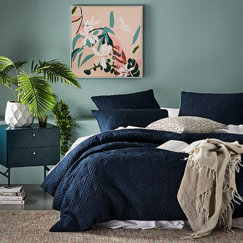 Soho Quilted Navy Quilt Cover Clean Bedroom Quilt Cover Restoration Hardware Bedding