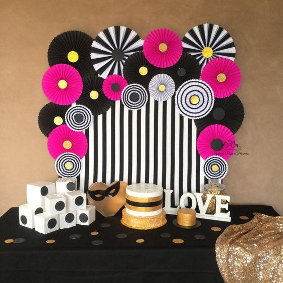 Paleta de Cores Preto, Branco e Pink - Psiu Noiva