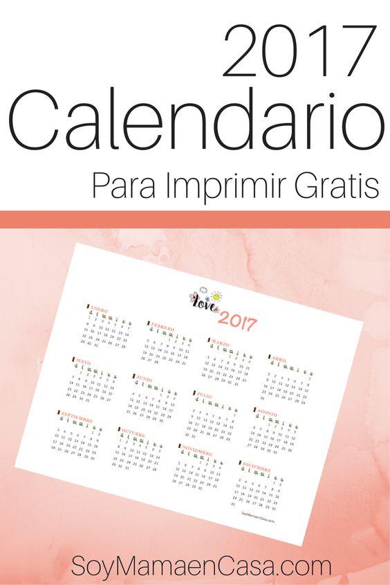Hermoso Calendario 2017 para imprimir gratis => Haz PIN para guardar :) no te lo puedes perder