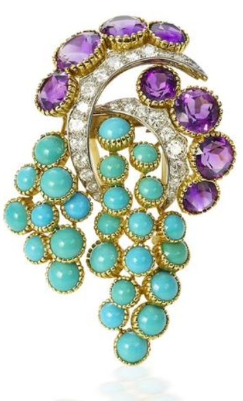 A turquoise, amethyst and diamond brooch, by Cartier, circa 1960 The stylised fruiting vine with circular-cut amethyst and brilliant-cut diamond leaves and stem and cabochon turquoise grapes, diamonds approximately 0.70 carat total, signed Cartier Paris, numbered, French maker's mark, French assay marks,: