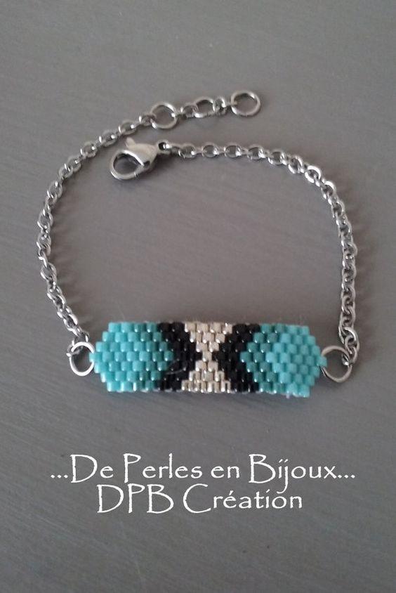 bracelet tiss perles delicas miyuki turquoise par deperlesenbijoux de perles en bijoux dpb. Black Bedroom Furniture Sets. Home Design Ideas