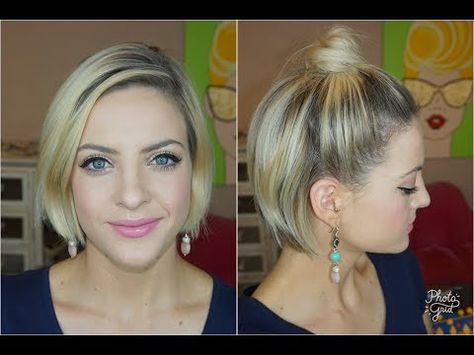 Top Knot For Very Short Hair Youtube Upięcia Krótkie