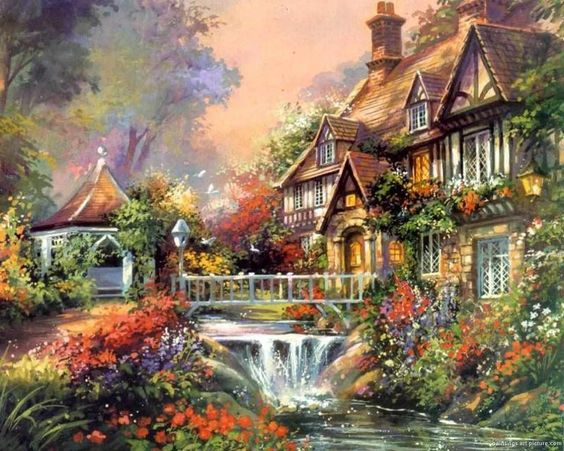 kinkade enchanted waterfall cross stitch pattern l k. Black Bedroom Furniture Sets. Home Design Ideas
