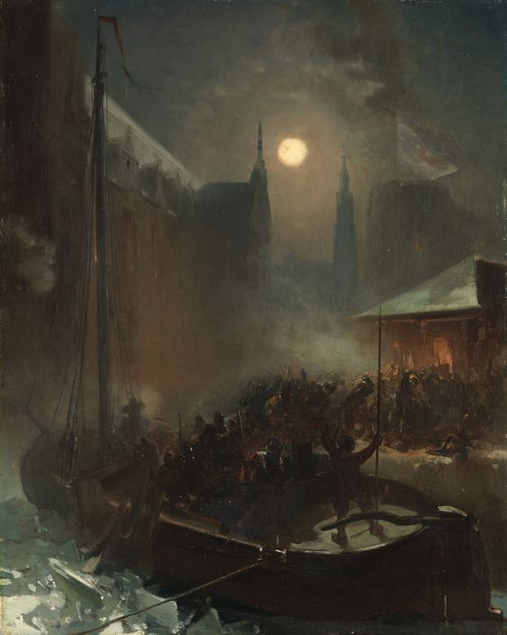 1590: Capture of Breda (The Peat boat at Breda by Charles Rochussen) through a 'Trojan Horse' style ruse