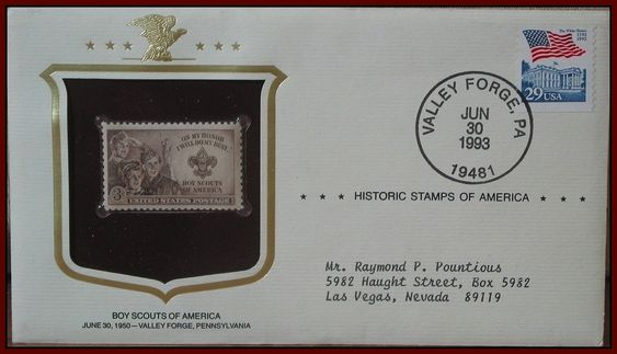 USPS 1993 Issued Boy Scouts Of America Commemorative 1950 Postage Stamp Envelope  http://ajunkeeshoppe.blogspot.com/
