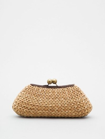 Raffia Clutch with Ball Clasp  by Kayu: