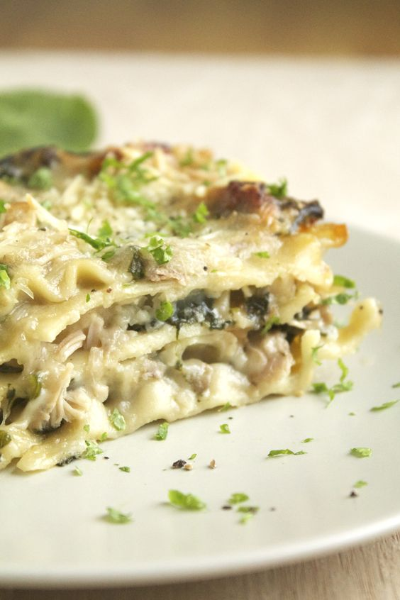 Mushroom & Spinach Lasagna- sounds great and can easily be made dairy free with a few substitutions.