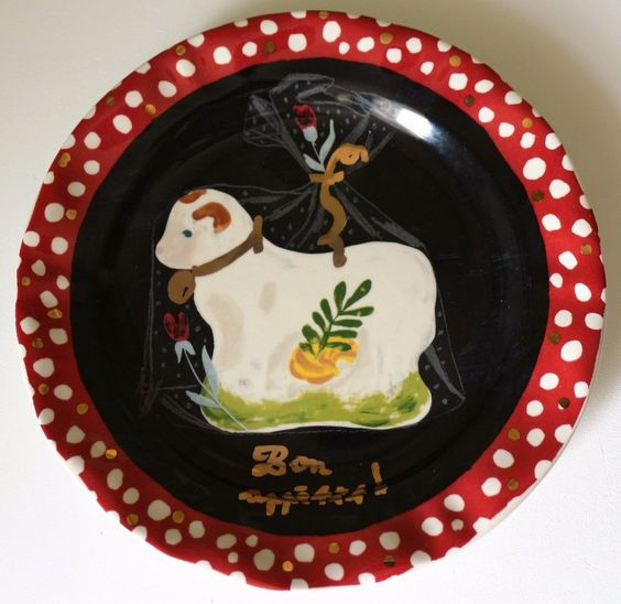 """NEW Anthropologie Nathalie Lete 10"""" Plate Holiday Christmas Candy Sheep Dinner  #Anthropologie"""