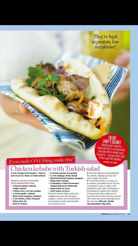 Chicken kebabs with Turkish salad