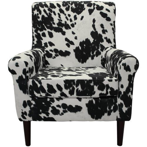 Ellis Black Cowhide Rolled Arm Lounge Chair Armchair Furniture Upholstered Dining Chairs