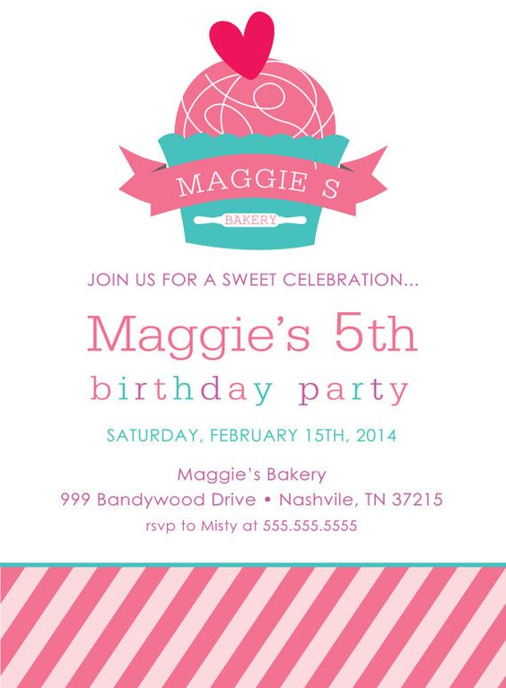 Printable or Emailable Bakery Cupcake Birthday Party Invitation ...