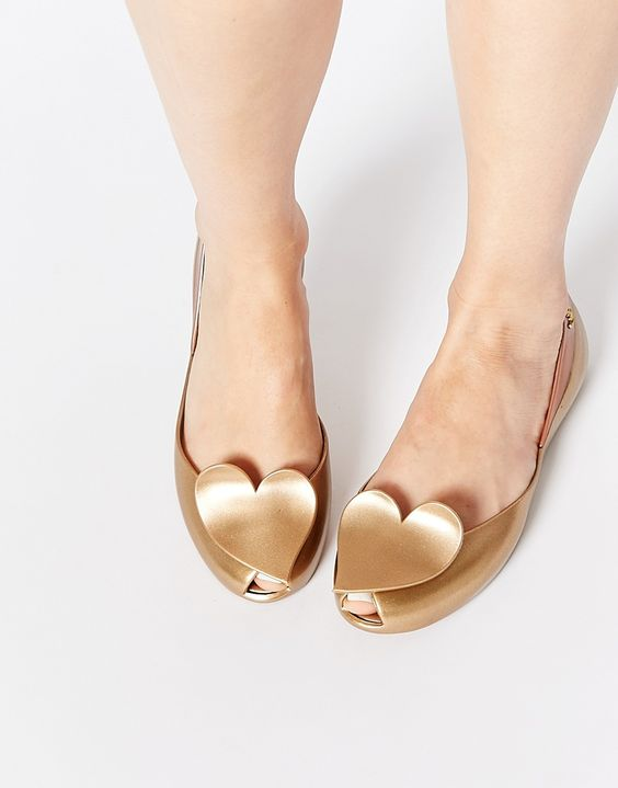 Image 1 ofVivienne Westwood For Melissa Queen Gold Heart Flat Shoes