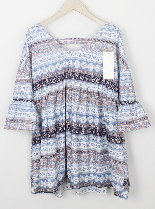 Ruffle Sleeve V Neck Vintage Embroidered Shift Dress