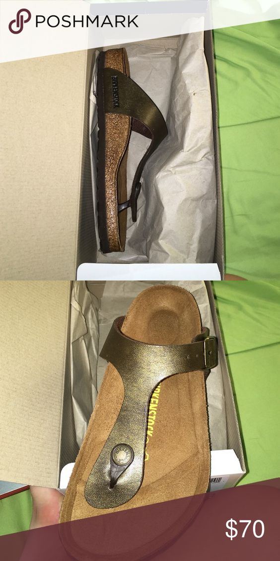 Golden Brown Gizeh Birkenstocks goldish brown birkenstocks that have never been worn Birkenstock Shoes Sandals