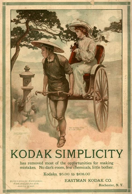"""1905 """"The Kodak Girl in Fair Japan. Kodak Simplicity has removed most of the opportunities for making mistakes. No dark-room, few chemicals, little bother. Kodaks, (five to one-hundred and eight dollars) Eastman Kodak Co. Rochester, N.Y. (two-thousand dollars) in prizes for Kodak pictures, Kodak catalogues free at the dealer or by mail."""" Vintage Glamour: The Kodak Girl - Lomography"""