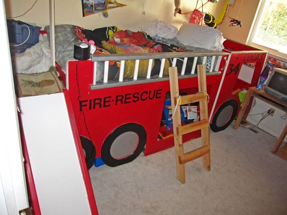Fire engine bunk bed fire truck room firefighter pinterest trucks engine and truck room - Fireman bunk bed ...