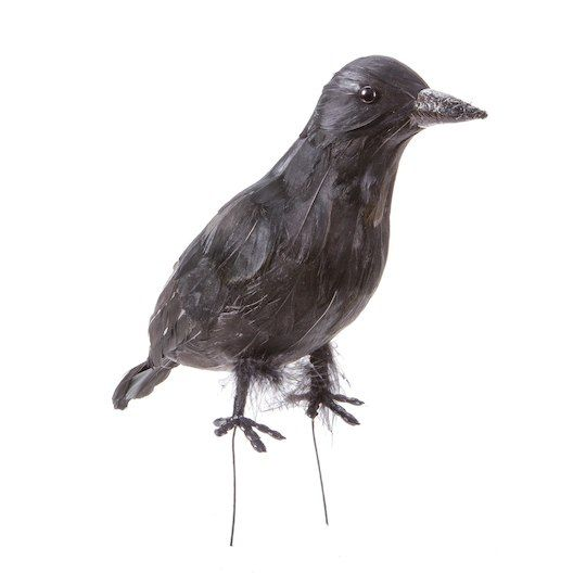 Darice Feathered Black Crow Halloween Decoration: 8.75 inches
