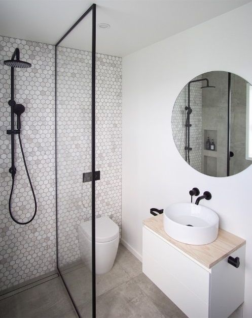 Penny Tile Feature Wall Small Shower Room Modern Small Bathrooms Small Bathroom Renovations