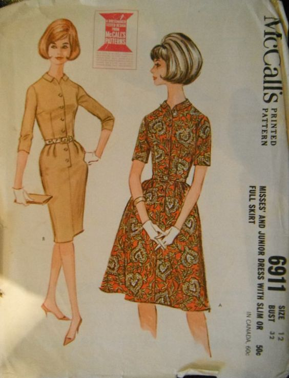 Vintage 1963 McCalls Dress Pattern 6911 with Slim by Zaniejanie123, $12.00