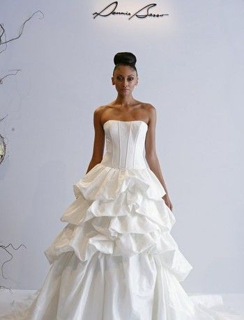 Strapless A-Line Wedding Dress  with Dropped Waist in Silk Taffeta. Bridal Gown Style Number:32591281