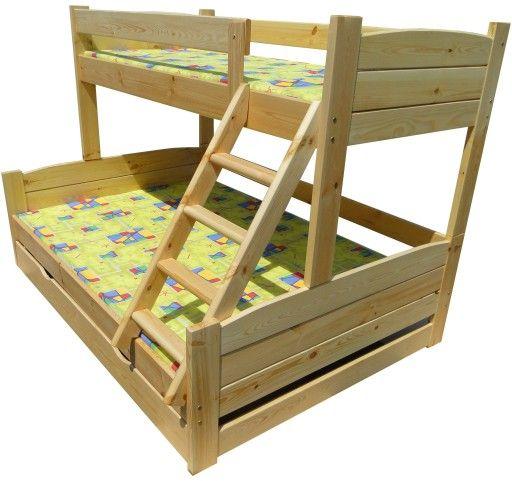 Mega Kolos 140x200 Lozko Pietrowe Trzyosobowe 150 7417653180 Oficjalne Archiwum Allegro Bed Bunk Beds Furniture