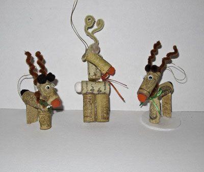 Wine Cork Ornament Reindeer