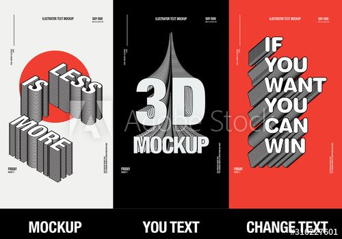 Modern Poster Design Template 3d Text Effect Mockup Full Editable Text Typography Packaging 3d Text Effect Design Template