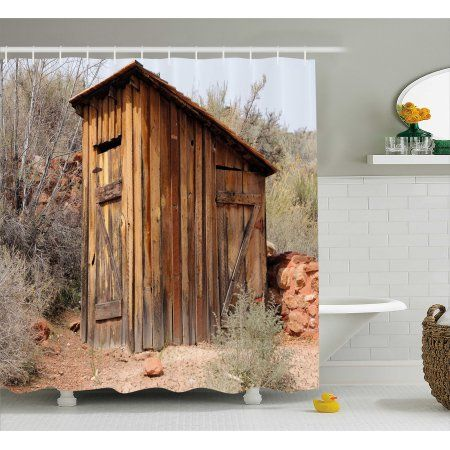 Outhouse Shower Curtain Old Wooden Shed In The Outback Country Side With Olive Trees Fabric Bathroom Set With Hoo With Images Country Bathroom Wooden Sheds Bathroom Sets