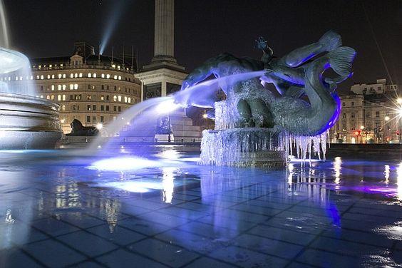 Frozen fountains in Trafalgar Square, London, UK