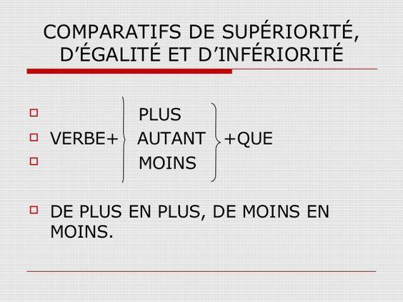 ACTIVITÉS 1.- Choisir la repons correcte 2.-Compléter avec le comparatif  3.-Aussi/Autant 4.- Choisissez la bonne réponse 5.-Compléter avec le comparatif