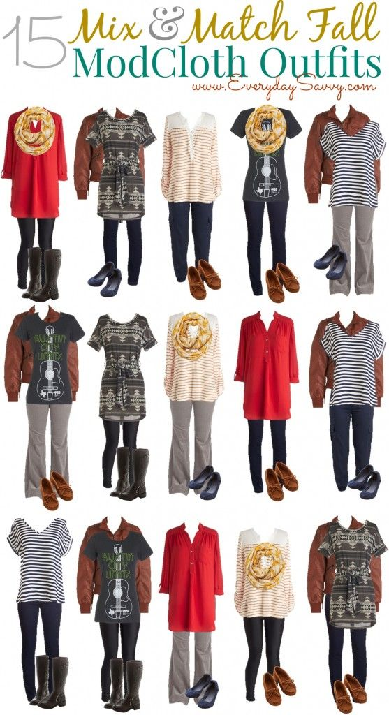 15 fun and fashionable fall mix and match outfits from ModCloth. These outfits will take you from day to a casual date night.: