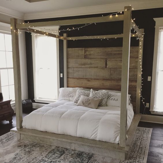Reclaimed Wood Canopy Bed (White) ($4,000) ❤ liked on Polyvore featuring home, furniture, beds, bedroom furniture, beds & headboards, grey, home & living, white king headboard, grey headboard and white king bed