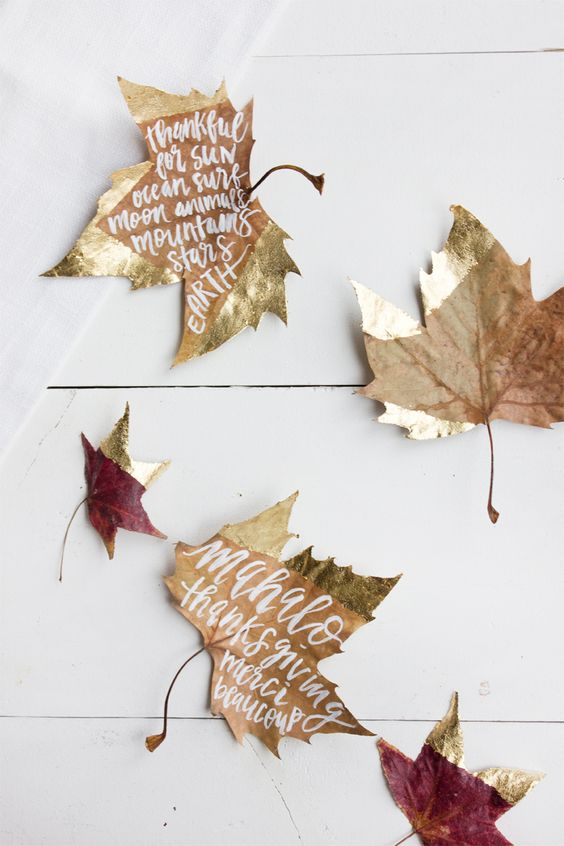 DIY gold dipped leaf place cards:
