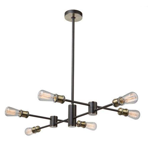 251 First Uptown Six Light Pendant In Matte Black Satin Brass Sloped Ceiling Adaptable Mid Century Modern Bellacor Chandelier Chandelier Lighting Brass Chandelier