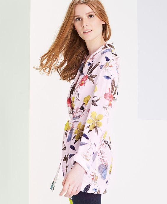Veste kimono rose imprimée fleurs One Step