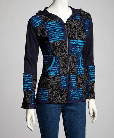 floral zip Hoodie | ... find on #zulily! Navy & Black Floral Stripe Zip-Up Hoodie #zulilyfinds