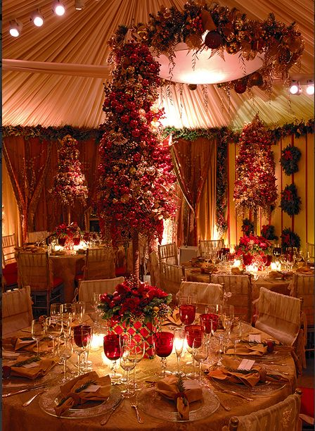Pink gold and red christmas decorations
