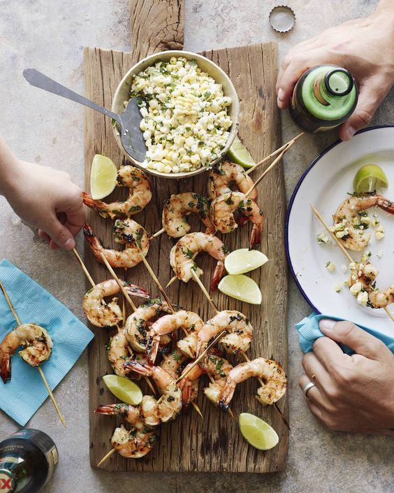 Mexican Shrimp Skewers with Corn Salsa from www.whatsgabycooking.com make for the perfect appetizer or main course! (@whatsgabycookin)