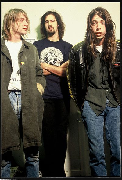 nirvana because i remember being completely mesmerized when they played smells like teen spirit on SNL and the come as you are sea horse shirt was the first band shirt i ever owned