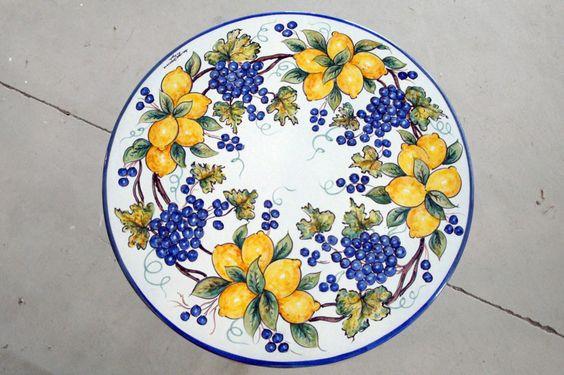 Ceramica Artistica Solimene - Decoro d'Amalfi, Uve e Limoni, le frutte importante d'italia