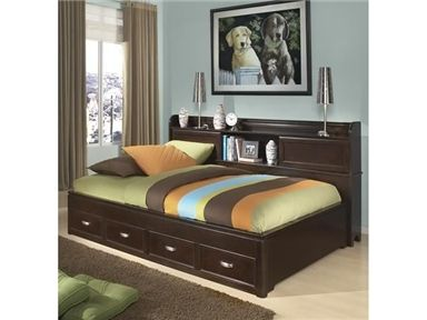 Shop for Legacy Classic Kids Lounge Bed Twin, 9980-5500-5503, and other Youth Bedroom Beds at The Red Barn in Houston, TX. Modern design meets must-have function. This Lounge Bed includes a long bookshelf along the back plus cubbies with sliding doors.